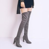 Boots Vogue High Heel Over The Knee Pointed Toe Stretch Suede Leather Long Women Short Plush Winter SWE0220