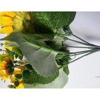 13 teste di seta girasole artificiali fiori finti 7 ramo / bouquet per home office party giardino hotel decorazione di nozze HWD6075