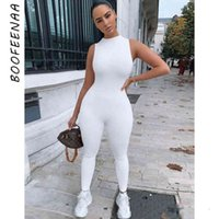 BOOFEENAA Sporty Jumpsuit Women Summer 2020 White Black Sleeveless Bodycon One Piece Jumpsuits Sexy Club Outfits C92-AB54 T200808