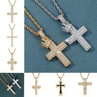 Bling Cubic zircon Jesus Cross necklace jewelry set diamond hip hop 18k gold Drop Crosses Crown pendant necklaces women men Fashion will and sandy dropship service