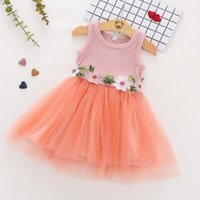 Girl's Dresses Girl Clothes 2021 Summer Sleeveless Princess Dress Flowers Cotton Mesh Kids Fashion Party Tutu For 3-48m Baby Girls