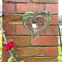 Objets décoratifs Figurines Stéréo Rotary Wind Cheemple Spinner Beating Heart 3D Flowing Light Effect Décor Eglise Jardin Porche Balcon Pendentifs G77MFZ0