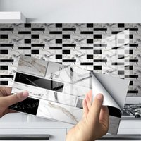 벽 스티커 12pcs 모자이크 벽돌 타일 욕실 부엌 벽지 방수 자기 접착 DIY 스티커 홈 3D 장식 데칼