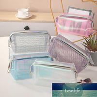 Storage Boxes & Bins Women's Cosmetic Bag Transparent Stripe PVC Makeup Organizer Travel Waterproof Bags Handbags