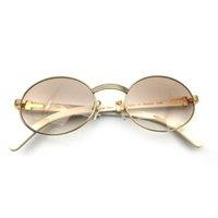 Clássico Carter Sunglasses Homens Branco Búfalo Chifre Chifre Óculos Quadro Marca Marca Óculos de Sol Oval Luxo Carter Óculos Rodada 7550178