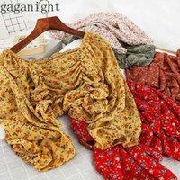 Gaganight Sweet Women Chiffon Короткая блузка с длинным рукавом квадратный воротник шикарный модный весенний летние рубашки драпированные сексуальные ретро блуз
