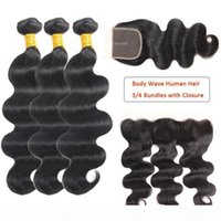 Норка бразильцы человеческие волосы волны пачек с лобному человеческими волосами влажные волнистые пакеты с закрытием бразильских волос.