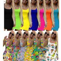 Designer Frauen Sommer Midi Kleider Casual Rock Sleeveless One Piece Ursache Kleid Party Nachtclub Plus Size Damen Kleidung 826