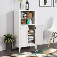 Floor Cabinet, Free Standing Side Storage Organizer with Double Doors and Shelves for Home Office Furniture, White