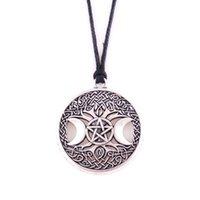 Кулон Ожерелья Triple Moon Goddess Wicca Пентаграмма Волшебное Амулет Ожерелье Женщины Дерево Жизненные Подвески Винтажные Ювелирные Изделия