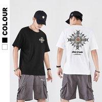 Marca de moda Harajuku Street Solto Hip Hop Bordado Manga Curta T-shirt Homens de Algodão Metade