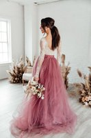 2021 Boho Wedding Dresses A Line Dusty Pink Elegant Lace Beach Bride Dresses Train Elegant Wedding Boho Bridal Gowns
