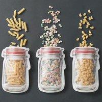 Sacs à glissière de stockage réutilisable pour aliments Sacs à fermeture à glissière Mason Jar Snacks Sac à étanchéité Authéh-à-la-chaussée Organisateur de cuisine HHE5745
