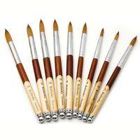 Brosses à ongles 1pc brosse acrylique manucure Poudre de bois Poignée en bois Ovale sertie de salon professionnel