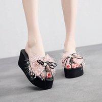 Muqgew 새로운 패션 진주 샌들 웨지 슬라이드 홈 욕실 해변 플립 플롭 신발 해변 슬리퍼 여름 신발 여성 샌들 M0xs #