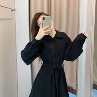 Casual Dresses GOOHOJIO 2021 Long Sleeve Black Classic Party For Women Autumn High Waist Dress Ladies Turndown Collar