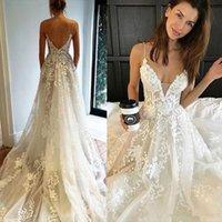 Sexy Backless Lace beach Wedding Dresses Spaghetti Straps A Line sweep train Bridal Gowns Handmade Bruidsjurken Women Robe Mariage