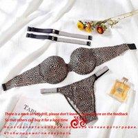 2021NewSecret Underwear Rhinestone Lingerie Bra Set For Sexy Women Push Up Hot Bikini Thong Panties Adjustable Bra Set Letter X0622