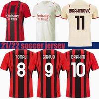 AC 21 22 Theo Soccer Jersey Ibrahimovic Brahim Bennacer Kessie Romagnoli Calhanoglu 2021 Camisa de Futebol Tonali Rebic Maillot Men + Kids Kit