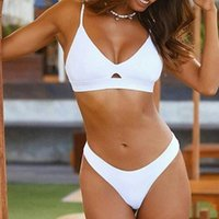Women's Swimwear Women High Waist Bikini Solid Hollow Out Halter Swimsuit Brazilian Beach Suit Beachwear Traje De Baño Mujer