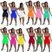 Frauen jumpsuit 2021 designer u-neck weste shorts home multicolor eng formgebung onesies einfarbig piping slim rompers mode beiläufige kleidung