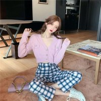 Girl Summer Autumn Knitted Jacket Thin Cardigan Full Sleeve Blouse Crop Sweet Candy Color Slim Button Women's Knits & Tees
