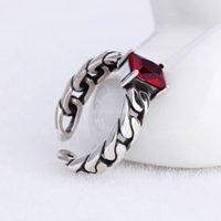 Antico argento diamante solitario anello rosso nero retrò catena aperta anelli di pietre preziose regolabili banda per le donne uomini gioielli moda gioielli e sabbioso