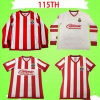 2021 Chivas Guadalajara Soccer Jersey 115th Anniversary طبعة برزويلا المكسيك 115 كرة القدم قميص بوليدو زي 21 22 Liga MX طويلة الأكمام النساء المنزل الأحمر الأبيض