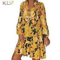 Casual Dresses Dress Women Long Sleeve Elegant Floral Print Summer Fashion Party Plus Size Night 2021 Vestidos Robe Femme 19Jul2