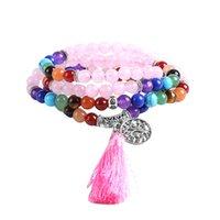 108 Meditation Multi-layer Long Strands Bracelets 7 Chakra Yoga Natural Round Amethyst Mala Beads Life Tree Tassel Jewelry 4519 Q2