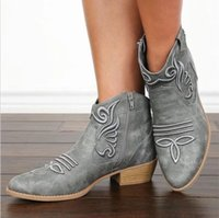 Autumn mid-heel women's shoes embroidered mid-tube leather boot side zipper rider shoe Female Cowboy Roman Boots futsal chalas