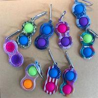 Zappeln Spielzeug Schlüsselanhänger Keychain Finger Spielzeug Push Bubble Board Spiel Sensorie Einfache Grübchen Stress Reliever Farbiger Druck H31PUXD