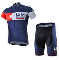 Mens Team Iam Cycling Jersey Set Ropa Ciclismo Hombre Pro Abbigliamento Bicicletta Quick Dry Manica Corta MTB Bib Bib / Shorts Suit Y21040616
