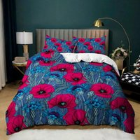 Bedding Sets 2 3 Piece Floral Blooming Flower Bed Linen 3D Print Duvet Cover Single Double Queen King Size Girl Bedspread