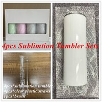 4pcs Sublimation STRAIGHT Tumbler Sets 20oz Sublimation skinny tumbler with straw Brush Straight Cups Stainless Steel Beer Coffee Mugs with Box