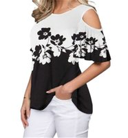 T-Shirt der Frauen-T-Shirt aus der Schulter Kurzarm-Frauen-T-Shirts Blumen-Druck-Mode-T-Shirt 5XL Große Größe Casual Tops Weibliche High Street Basic