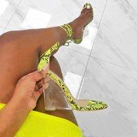 Lanlojer 여름 교차 묶여 여자 뱀 패턴 웨지 샌들 신발 하이힐 펌프 숙녀