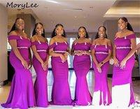 Demoiselle d'honneur robe violet robes de sol sirène longueur longueur balayer train brillant cristal perle satin plissé mariage fête bride