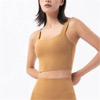 Womens Gather Yoga Vest Tee Fashion Trend Deep U Neck Sexy Back Sling Sports Vests Skinny Short Tops Female Fitness Underwear Shockproof Bra