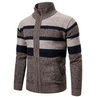 Men's Sweaters Plush Thick Stripe Winter Mens Long Sleeve Patchwork Knitted Sweater Stand-up Collar Cardigan Jacket Tops
