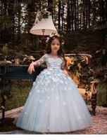 Vestidos de Primera Comunion 2019 Penlelei Çocuklar Küçük Kızlar için İlk Communion Elbiseler Uzun Sevimli Çiçek Kız Elbise El Yapımı Çiçekler