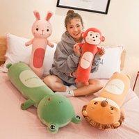 55 cm Yumuşak Uzun Uyku Silindirik Aslan Tavşan Yastık Bebek Yaratıcı Tembel Peluş Oyuncak Çocuk Bebekler Oyuncaklar