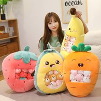 Plush Snack Bag Toy Pillow Cushions Strawberry Avocado Cute Soft Toys with 8 Mini Dolls Pudding Stuffed Animals Fluffy Home Decor Novelty Girlfriend Kids Gift 60cm