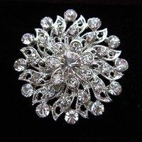 1.2 Inch Beautiful Silver Color Clear Rhinestone Crystal Diamante Small Flower Wedding Dress Pin Brooch Gifts