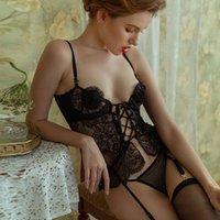 Sexy Set lingerie vest garter belt perspective temptation uniform suit tight lace passion suits black white