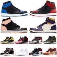 Homens Moda Basquetebol Sapatos Nova Chegada 1s Top OG Crimson Tint Court Roxo Amor Amarelo Jumpman Criado Treinadores Sneakers com Caixa