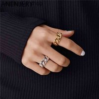 ANENJERY 925 Sterling Silver Trendy Lock Chain for Women Men Handmade Twisted Geometric Rings Party Jewelry S-R941