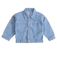Jackets Children Kid Girls Pearl Denim Coat Streetwear Fashion Solid Color Long Sleeve Lapel Neck Button-up Jacket 3-7Years