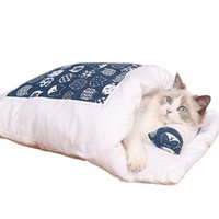 Cat Beds & Furniture Cats Sleeping Bed Semi-enclosed Design Winter Warm Bag House Removable Small Pet Supplies Drop