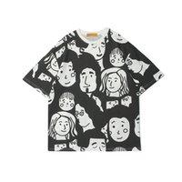 2021 Verão Novo Cartoon Face Full Print Manga Curta T-shirt Masculina Moda Rua Solta Casal Redondo T-shirt